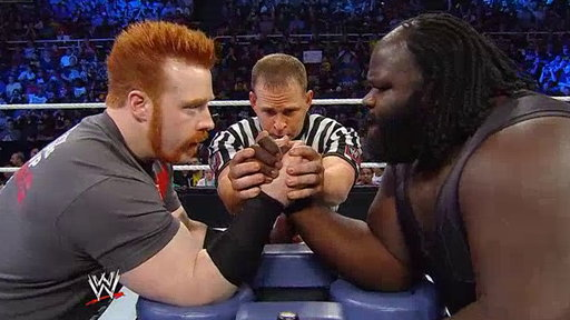 S15E715 Arm Wrestling Challenge: Mark Henry vs. Sheamus